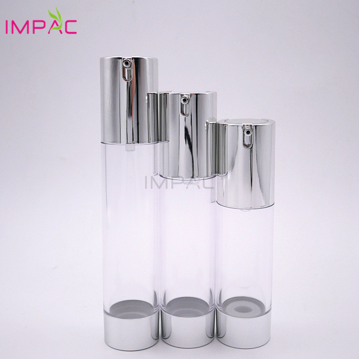 Easy open end empty gloss silver aluminum airless pump round serum bottle 40ml