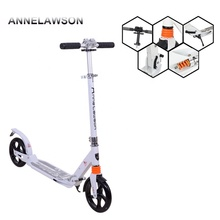 EN14619 high quality 2*200mm big wheels double suspension urban folding scooter adult scooters