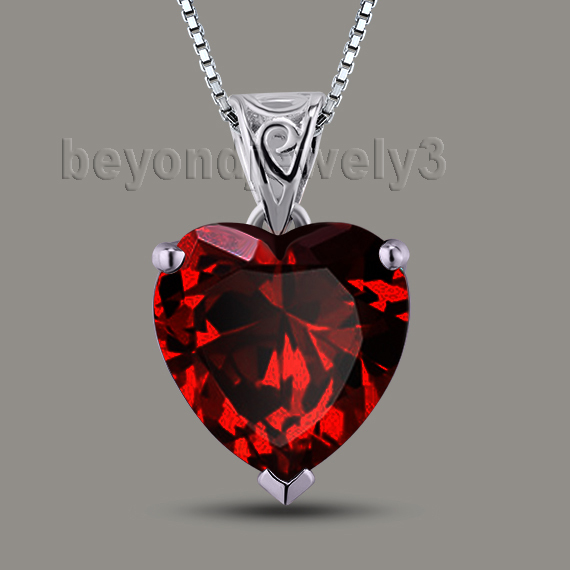 Romantic Heart Garnet Pendant 4.75Ct Natural Red Garnet Solid 18Kt White Gold Pendant For Sale P00279A