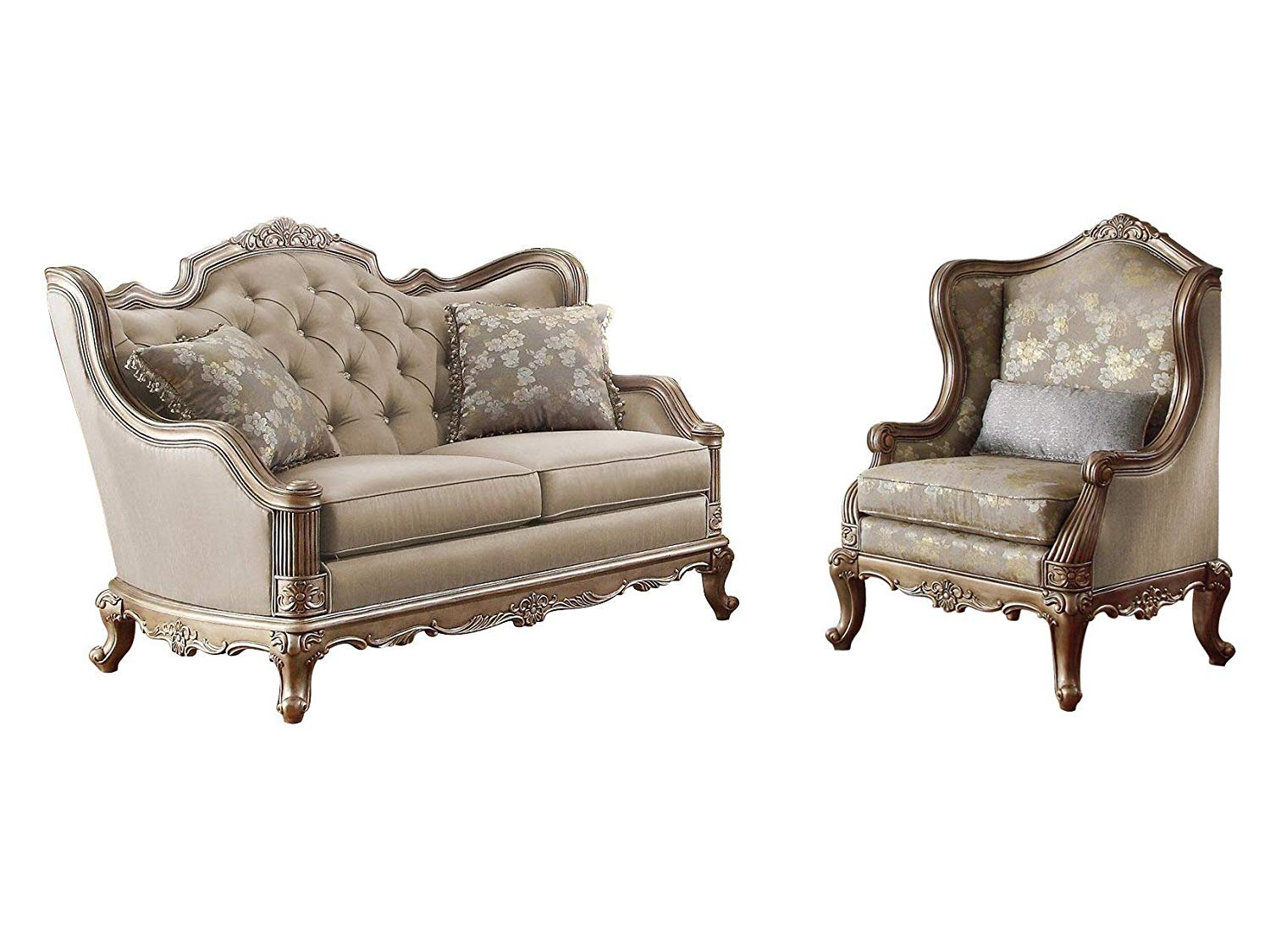 Fayanna Baroque 2PC Set Love Seat & Chair in Fabric - Twilight Taupe with Wood Trim