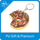 Novelty mini food product pu squeeze chocolate donuts cookie keychain for sell