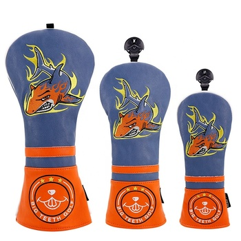 Golf Gift Set Golf Club 3PCS Set PU leather Wood Headcover Shark Embriodrey for Driver/Fairway/UT Club