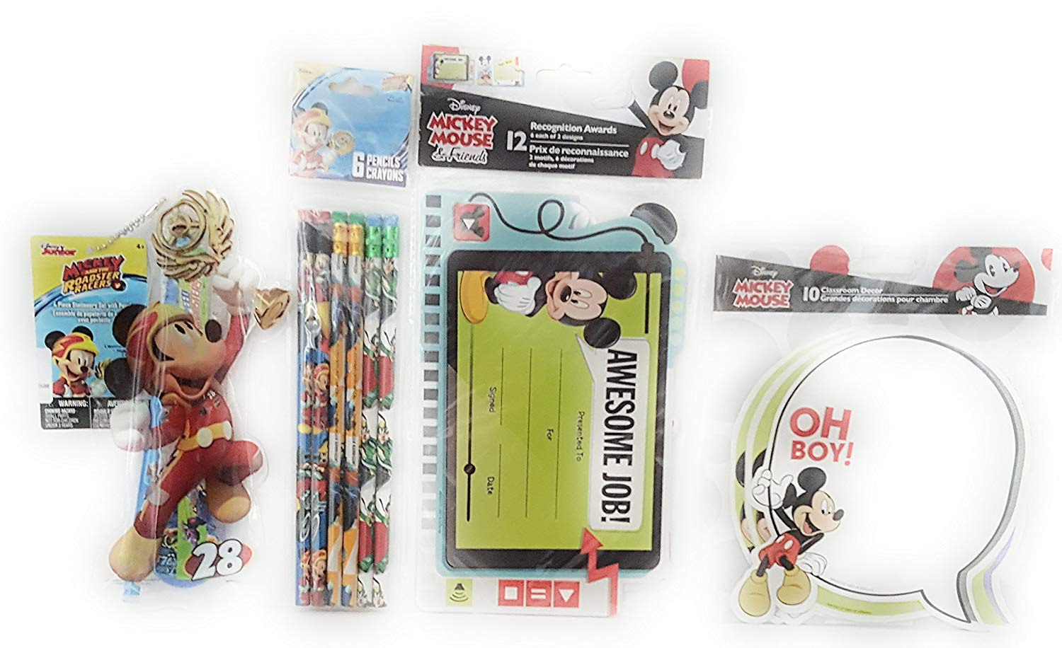 Back to School Toddler Pre-School Elementary School Supplies Pencils Pencil Pouch Awesome Job Recognition Awards Classroom Decor Mickey Mouse