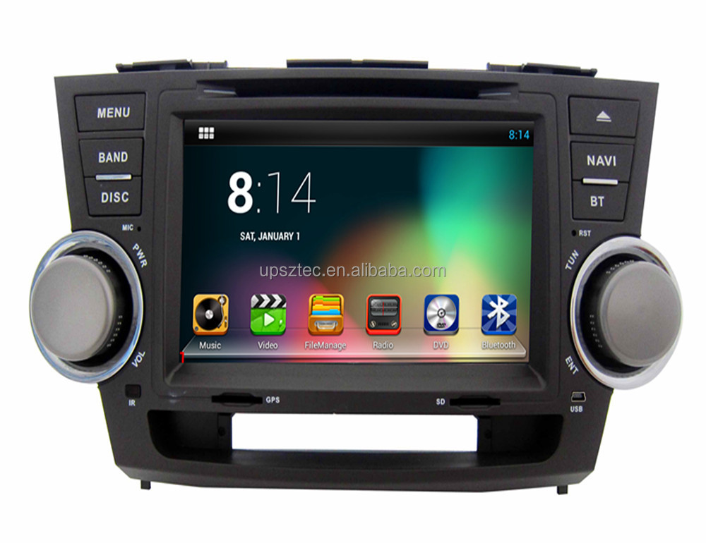"Android 5.1 system 8"" touch screen Bluetooth digital <strong>TV</strong> gps DAB OBD wifi quad core <strong>Car</strong> DVD player for <strong>Toyota</strong> Highlander"