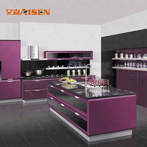 Modern Italian Purple high glossy lacquer kitchen cabinet for home furniture
