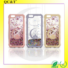 QC&T China Mobile Phone Case For iphone 6 , Electroplated Color Painting Bumper Quicksand Back Cover for iphone 6