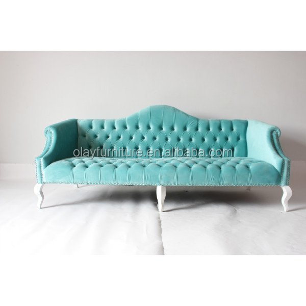 Country style wooden sofa furniture, event furniture,green velvet event rental wedding sofa
