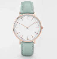 White Dial Genuine Leather Strap Minimalist Rose Gold Ladies Watch