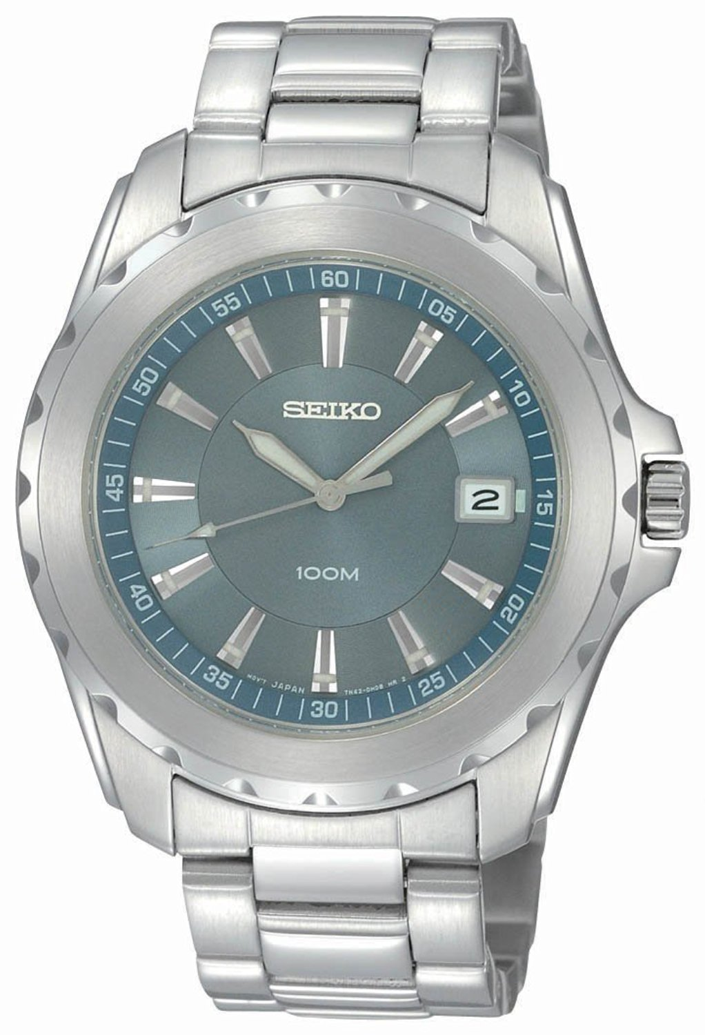 9163b9091 Get Quotations · Seiko Men s SGEE71 Sport Solid Stainless-Steel Case and  Bracelet Light Blue Dial Watch