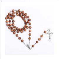 Newest Design Wood Alloy Silver Catholic Rosary Necklace