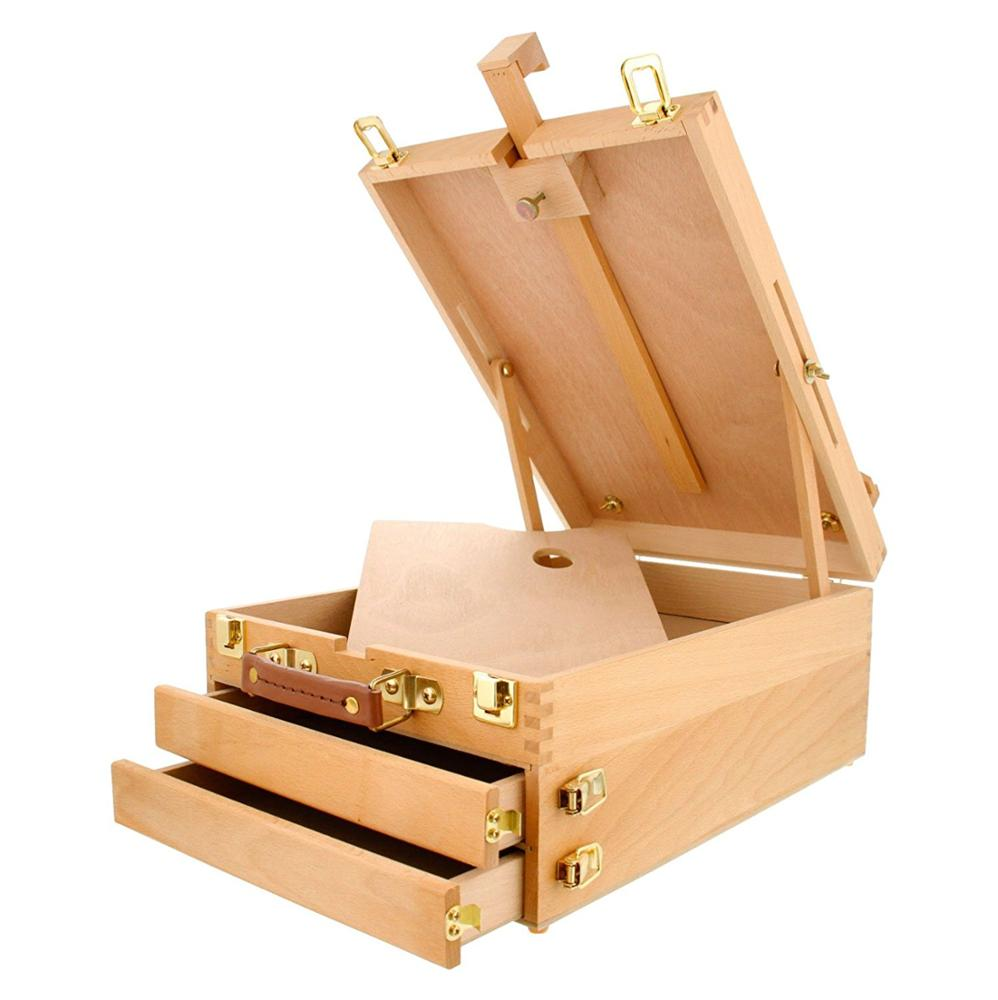 Oil Finished Beech Wood and Metal Locking Clasps Extra Large 2-Drawer Wooden Sketch Easel box