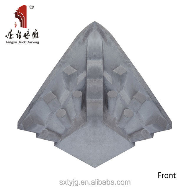 Chinese Gardens Antique brick tiles With Grey Color triangle brick carved eave tiles