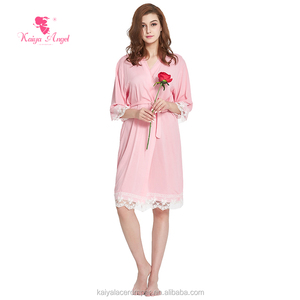 Wholesale Stock no moq long sleeves with lace trim sleeping dress women night gown bathrobe for ladies