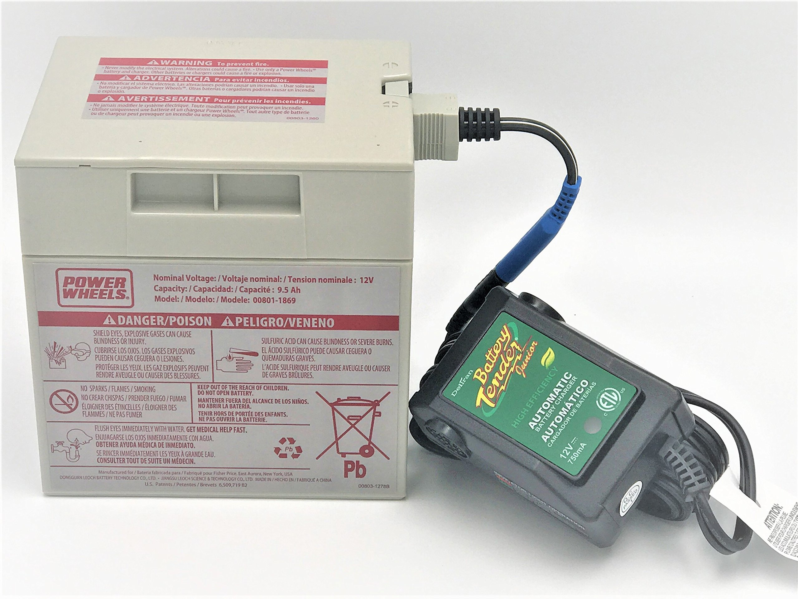 Power Wheels Gray 12 Volt Battery (00801-0638) and Automatic Battery Tender 12V Quick Charger (021-0123) Combo Pack with quick connect harness by CBC