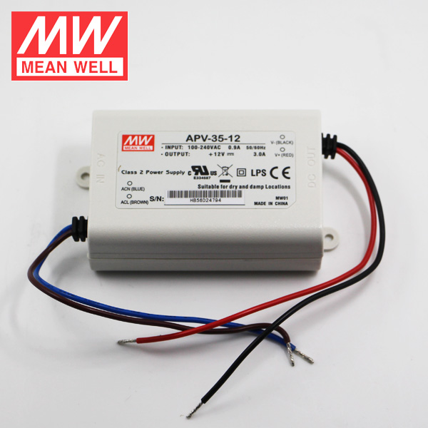 Mean Well APV-35-5 AC DC Power <strong>Supply</strong> 5V 5A 25W LED Indoor Lighting Use