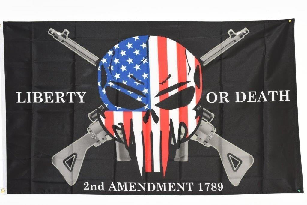 Liberty or Death 2nd Amendment USA Punisher Skull Rifles 1789 Flag 3'x5' House Banner Grommets Double Stitched Fade Resistant Premium Quality 2-04-E