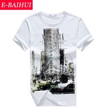Free Shipping 2015 Spring Fashion E-BAIHUI  Slim Fit Hip Hop Short Sleeve Tshirt New York Fitness  T-shirt Skate Camisetas Swag