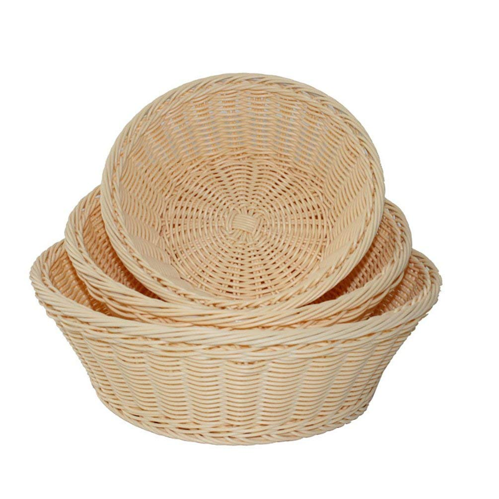 AODEW Round Woven Bread Roll Baskets Food Serving Baskets Fruit Vegetable Dessert Bowl Storage Baskets