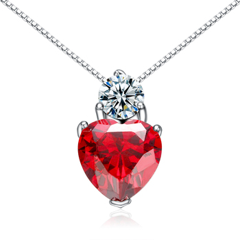 ELBLUVF 925 Sterling Silver CZ Crystal Stone Red Heart Pendant