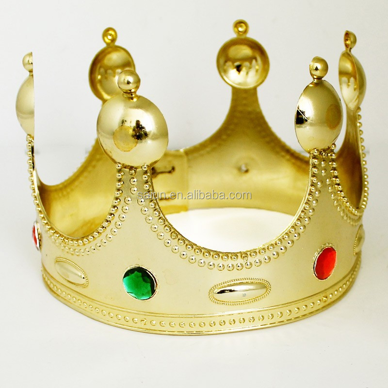 Fashion king godlen plastic beauty large pageant crown for sales