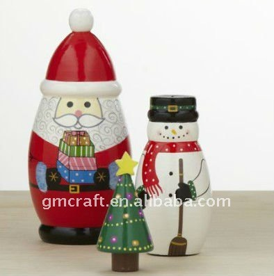 Wooden Santa Claus sets russian nesting dolls