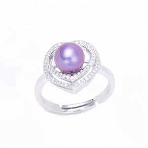 Pearl Rings For Women Sterling Silver S925 Rings To Mount Double Hearts For Jewelry Making
