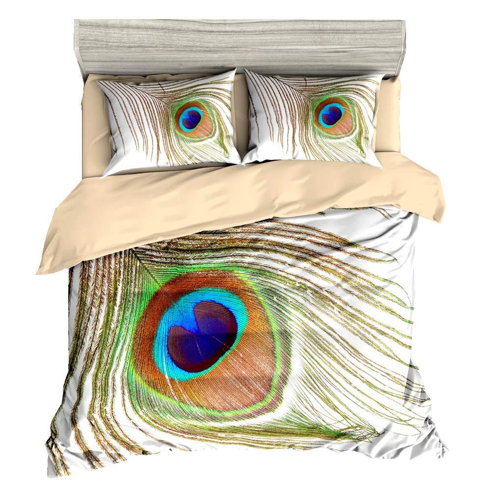 HyUkoa 3D Peacock Duvet Quilt Cover Bedding Set AU Queen Size/3 Pieces Include 1pc Duvet Cover+2pc Pillowcase(Without Comforter)