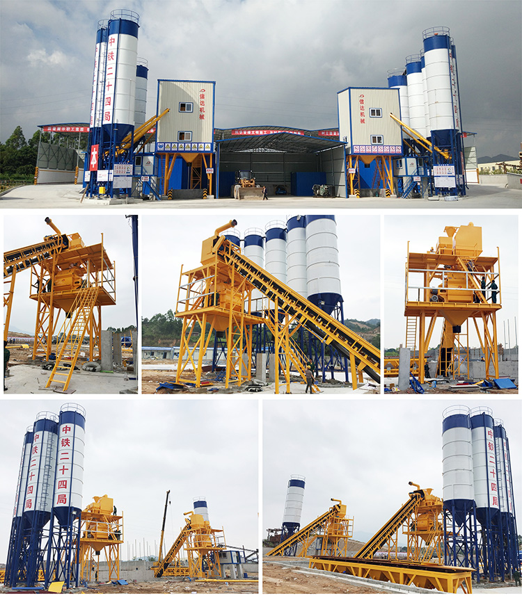 HZS120 concrete mixing station has high yield and performance