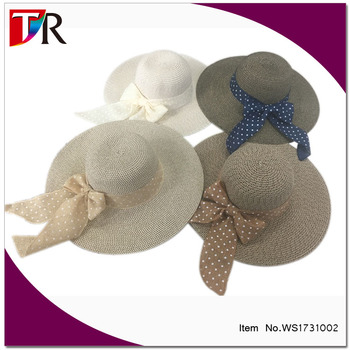 ladies blank floppy straw hat with dot ribbon foldable straw hat surf