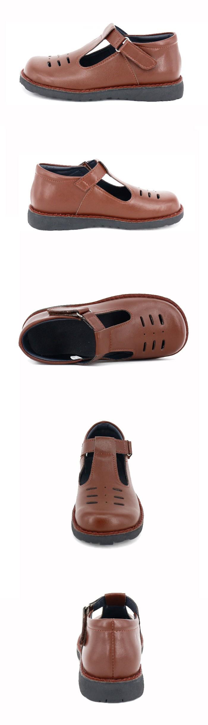 Top Kualitas Terbaru Desain Coklat Kulit Tumit Datar Sepatu Warrior Sekolah