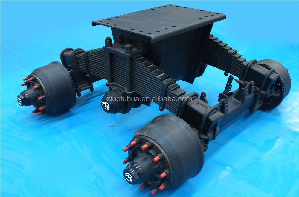 Semi heavy truck 24tons bogie single point suspension system