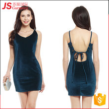 JS 20 Wholesale Women Fashion Velvet Dress Custom Color Backless Sexy Mini Ladies Prom Dress 775