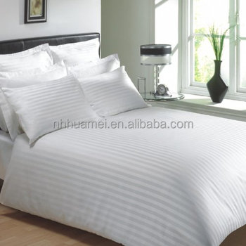 100% Cotton White 1cm Stripe Comforter Hotel Bedding Bed Sheet