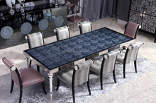 Luxury New Arrival Italian Style Carving Floral Rectangle Dining Table with Elegant Matching Leather Chair BF11-01224d