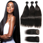 2019 Hot Selling Malaysian Premium 40 Inch Human Hair Extension Straight 9a bundle with Closure