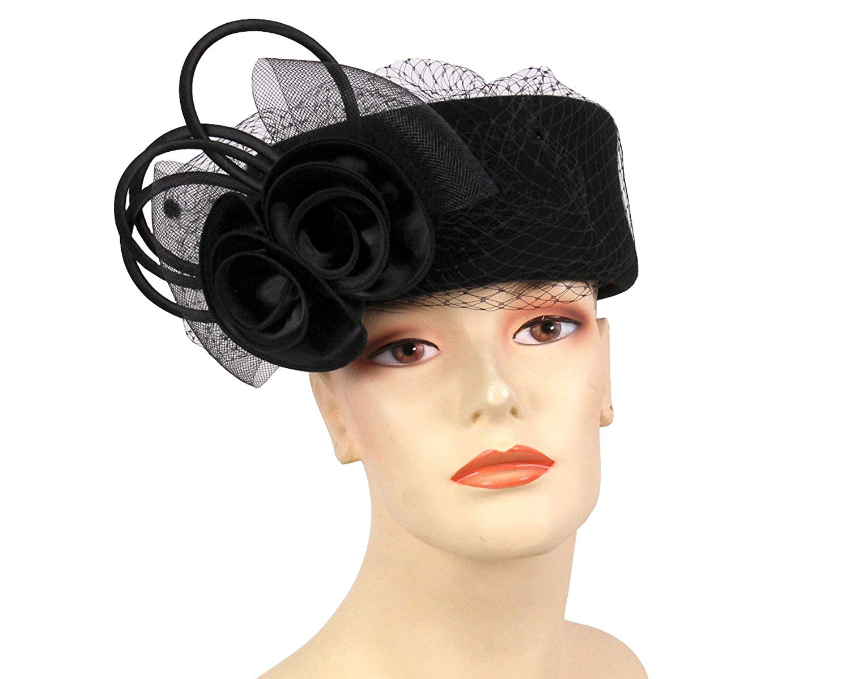 336def41e3e Get Quotations · Ms Divine Women s Wool Pillbox Church Hats Dress Formal  Hats HL24