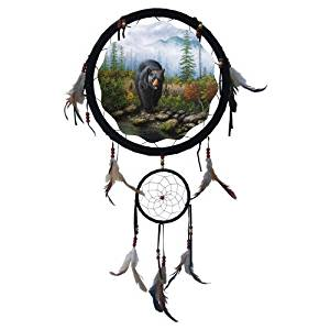 "13"" Dream Catcher - Grizzly Bear, 13"" Dream Catcher with Beads/feathers. Second Hanging Dream Catcher Measures 5"". Picture in Center Measures 10"" (Print on One Side Only). Includes Hanging String and Feathers/beads As Shown."