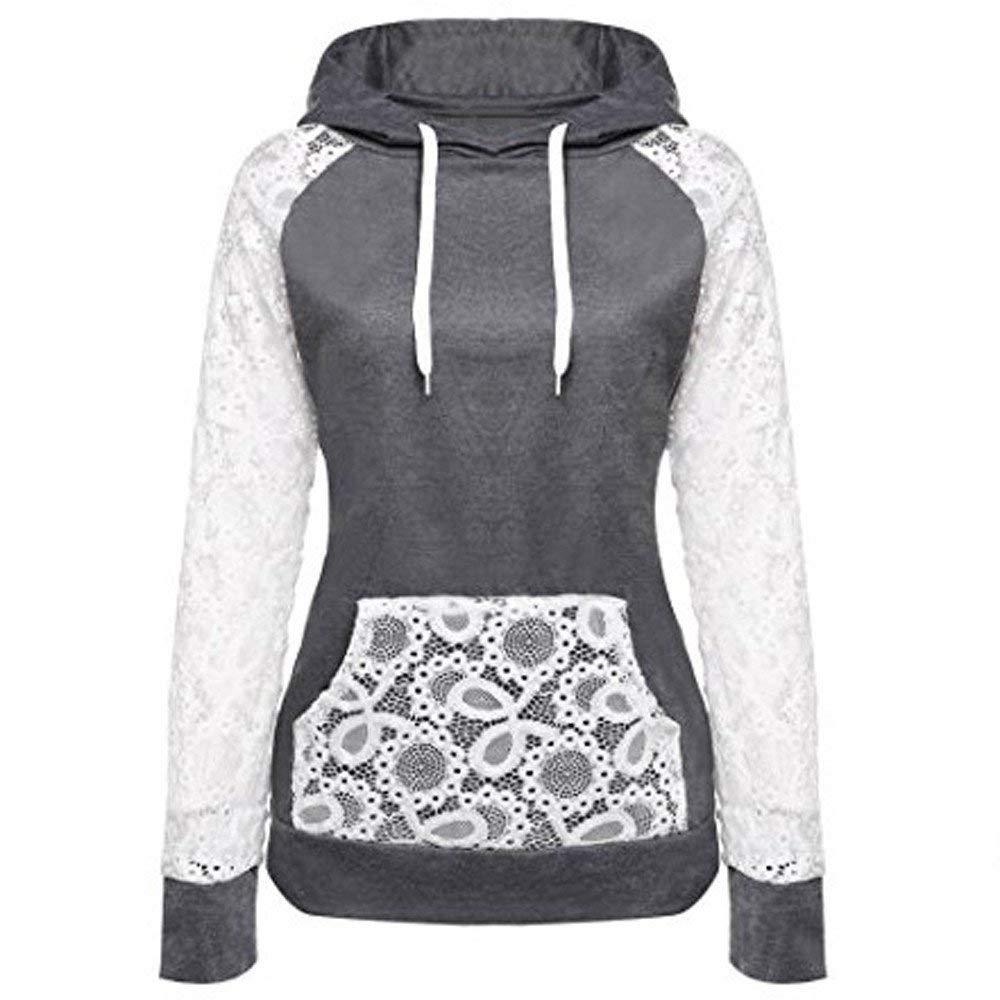 fbR8wawOKPHoYL9 Clearance Coat, Women Sheer Lace Long Sleeve Hooded Patchwork Sweatshirt Pockets
