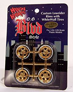 OG BLVD's Gold Cragar-style Rims Wheels w/ Low Profile Tires (for Hobby Model Kits) 1/24 1/25 scale