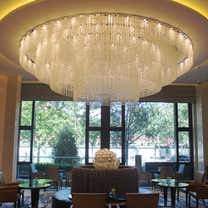 Round Shape Clear Glass Chandelier Crystal Cube Pendant Light for Living Room