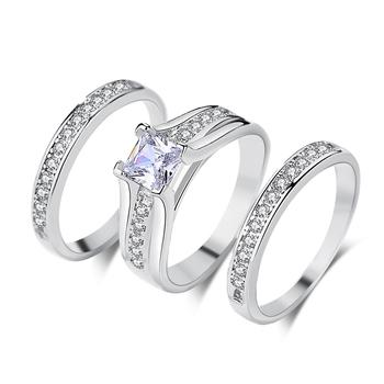 Br130 Chinese Diamond 3 Pcs White Gold Plated Wedding Ring Set