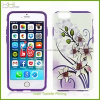 "Hot sale 2 in 1 water transfer color printing phone cases for iphone 6 4.7"" inch,latest mobile phone skin cover"