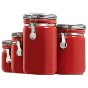 Get Quotations Anchor Hocking 03923red 4pc Red Ceramic Canister Set Hocking03923red By