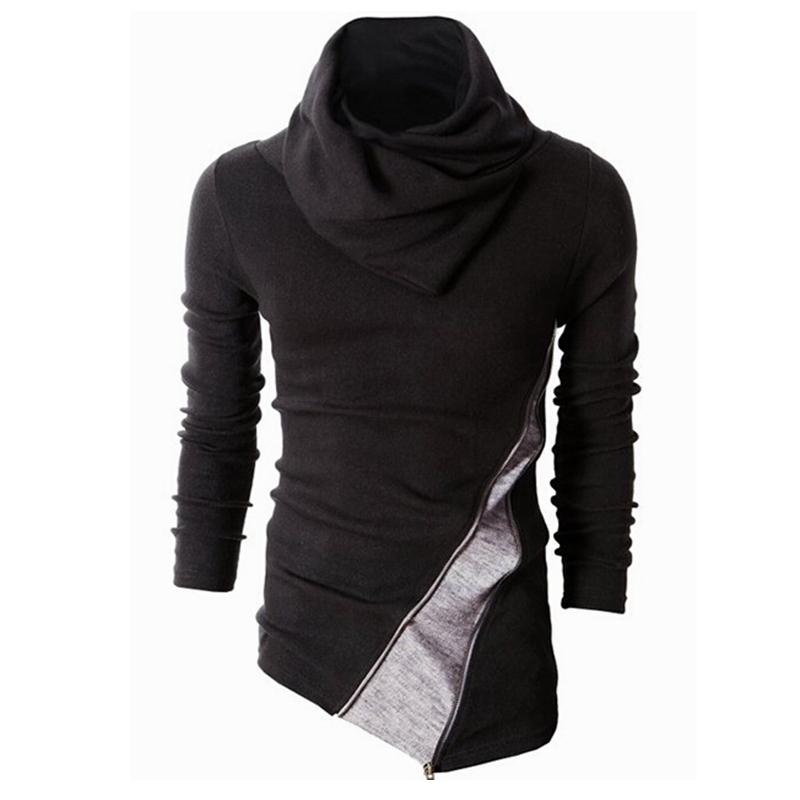 Qiangjinjiu Mens Hooded Sweatshirt Fashion Irregular Hem Hoodies Pullover