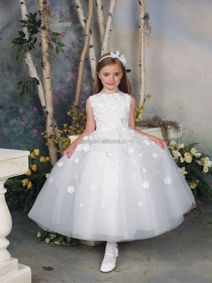 2015 Hot sale white princess long applique dress for kids,children ...