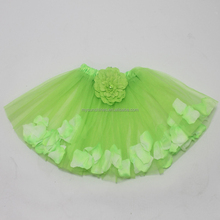 Top quality girls professional ballet tutu with flower petal kids lime green short skirt