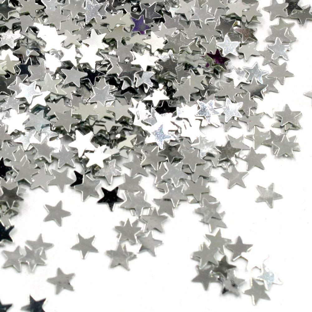 Confetti Sprinkles, 15000 Pcs Gold Star Confetti for Party Wedding Decorations, Graduation, Table Decorations, Confetti Theme Classroom, Girls Kids DIY Craft, 15 Grams a Pack, Total 5 Pack (Silver)