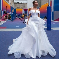Simple Bridal Dress 2019 Mermaid Wedding Gowns Sexy Africa Bridal Wedding Dress with Detachable Train Cheap Wedding Dresses A233