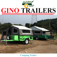 2017 Hot Sale!! Off Road Rear Folding Hard Floor Camping Trailer Camper Trailer with Tent