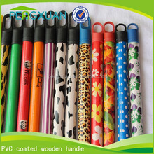 Guangxi eucalyptus wood durable colorful flower broom stick PVC cover